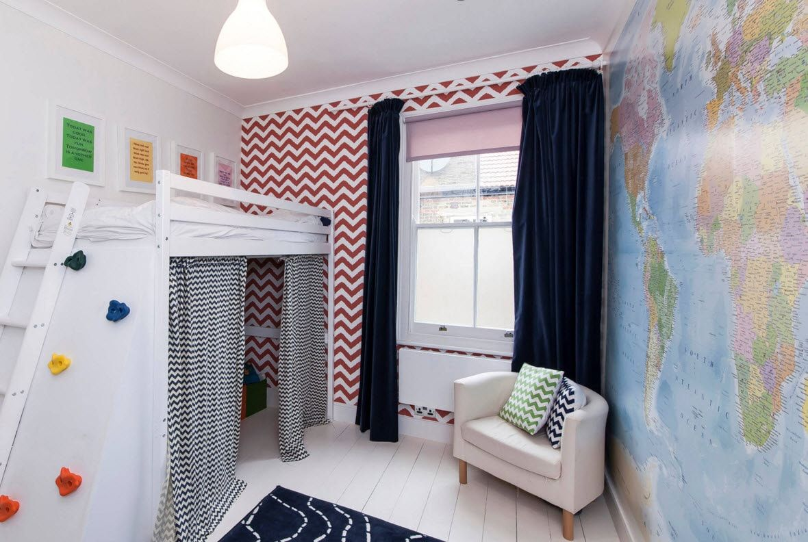 Design Examples of Small Kids' Rooms for Boys Decoration. Bright colutions and deep dark curtains brings uniqueness and joy into the interior