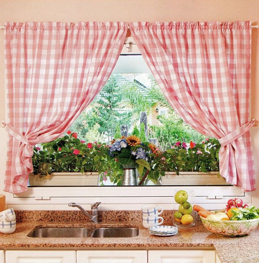Kitchen Curtains Design Photos, Types and DIY Advice. Fresh Rustic style checkered cotton curtains