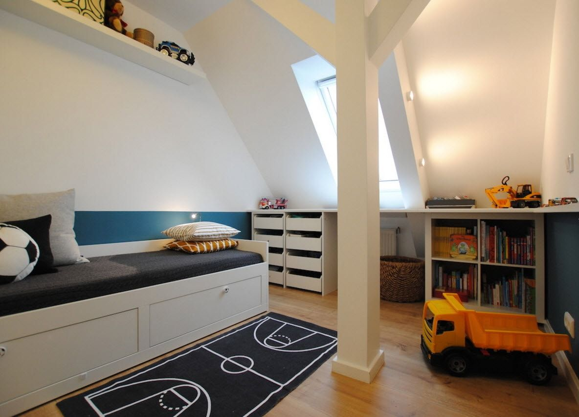 Design Examples of Small Kids' Rooms for Boys Decoration. The rug marked as the soccer pitch looks spectacular