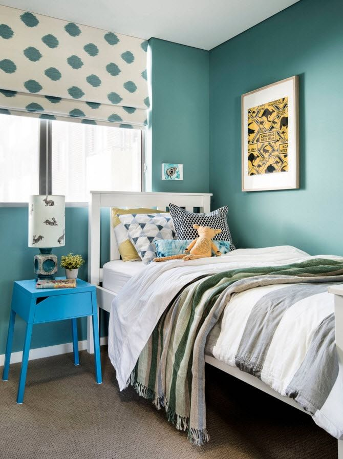 Design Examples of Small Kids' Rooms for Boys Decoration. Turquoise neutral walls in the full of light area