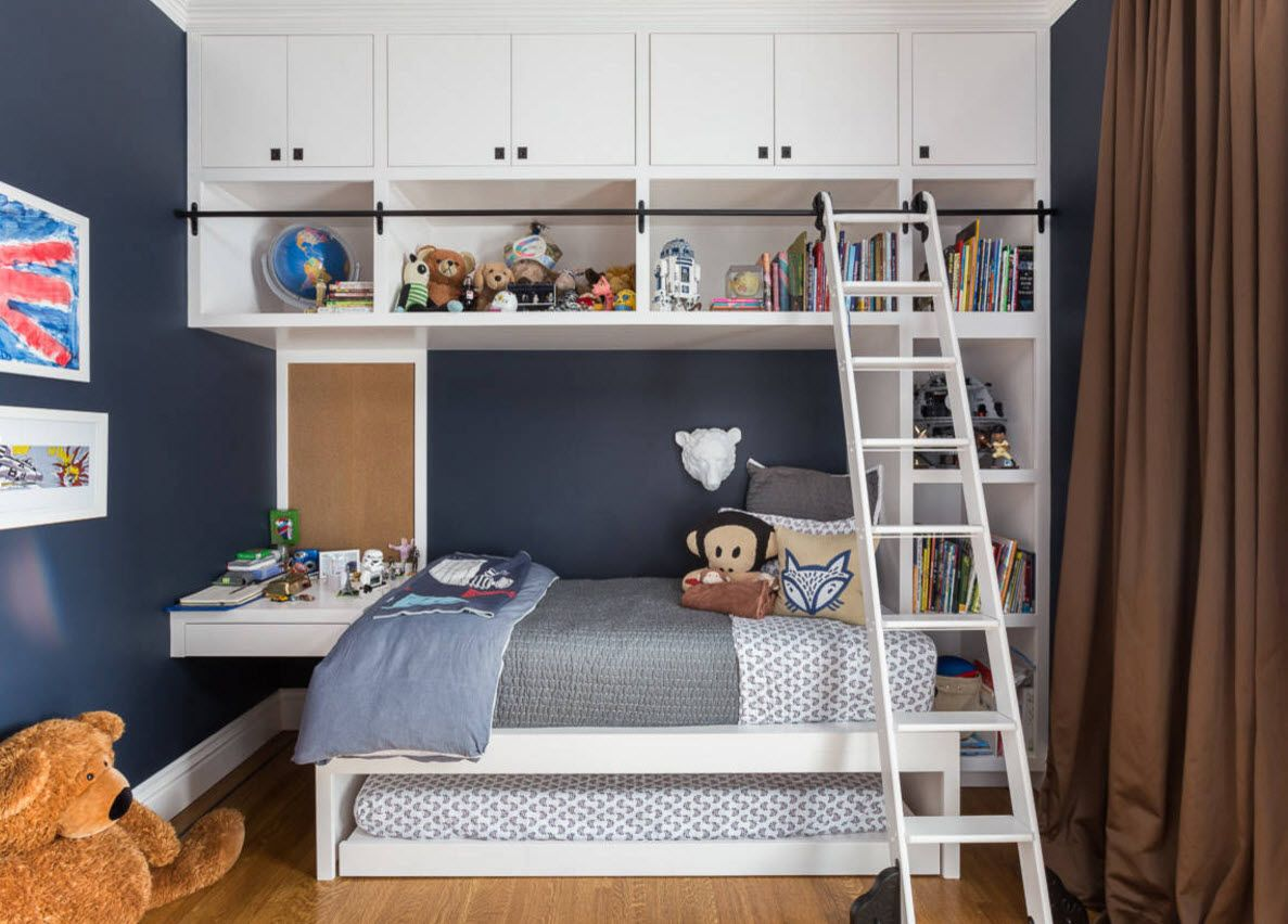 Design Examples of Small Kids' Rooms for Boys Decoration. Uniquely designed bed with the stairs up to the drawers