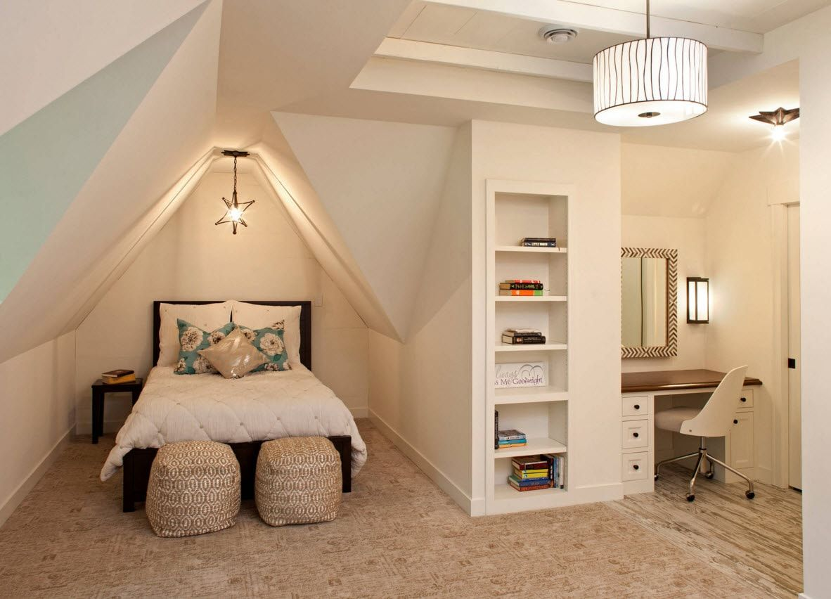 Design Examples of Small Kids' Rooms for Boys Decoration. Loft interior idea with bedside ottomans