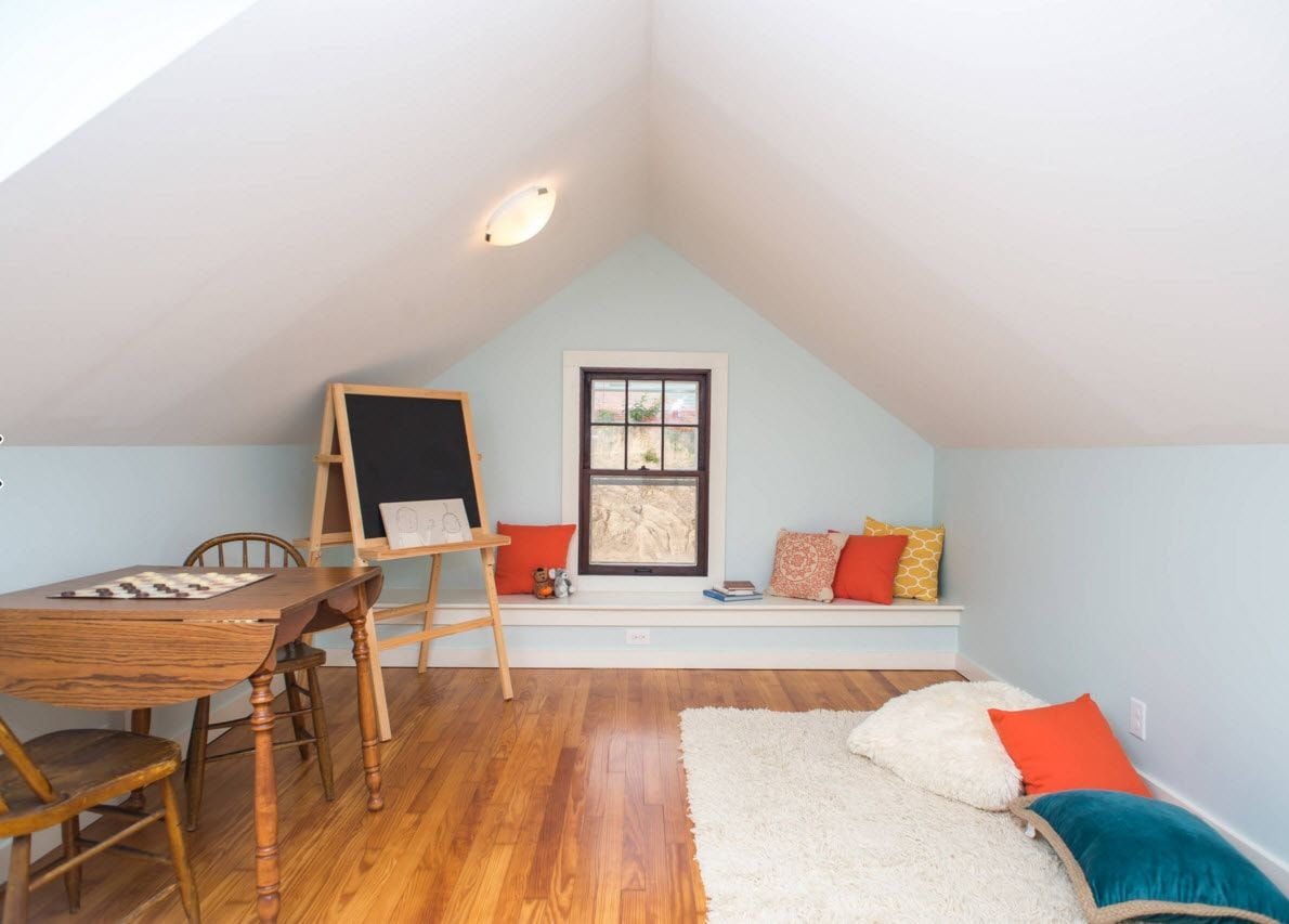 Design Examples of Small Kids' Rooms for Boys Decoration. Gable sloped ceiling in the neutral situation