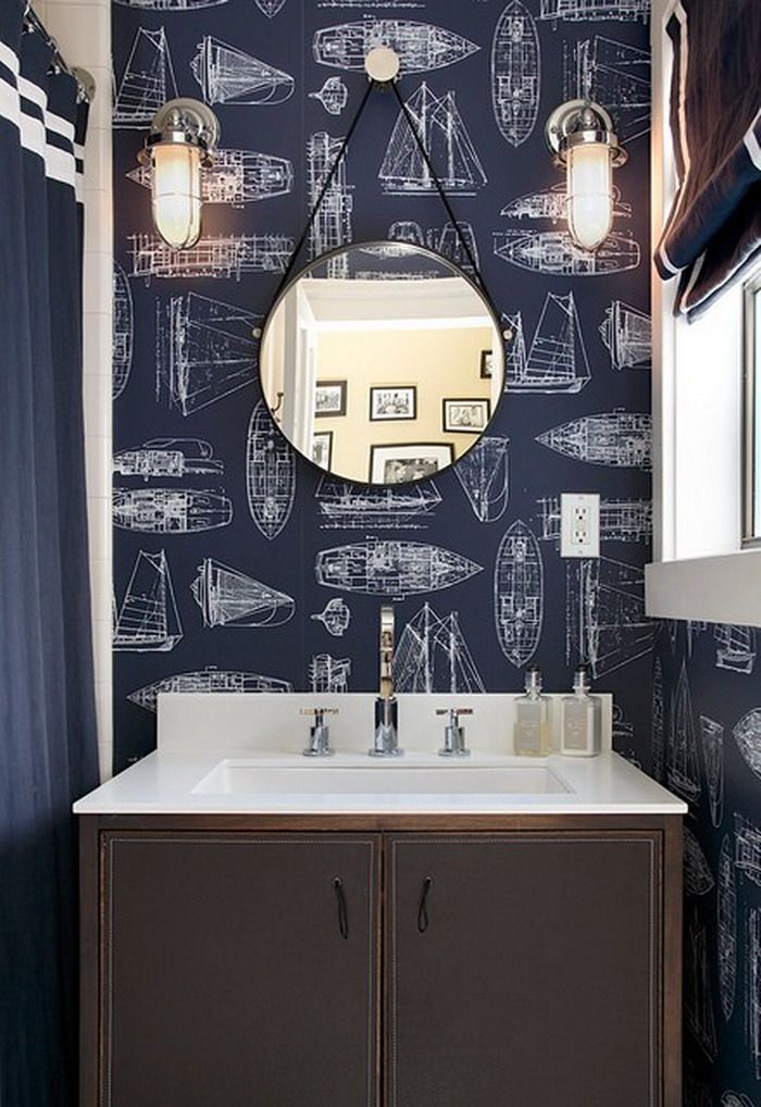 Top 7 Most Popular Materials for Wall Finishing. Dark blue wallpaper for the contemporary bathroom