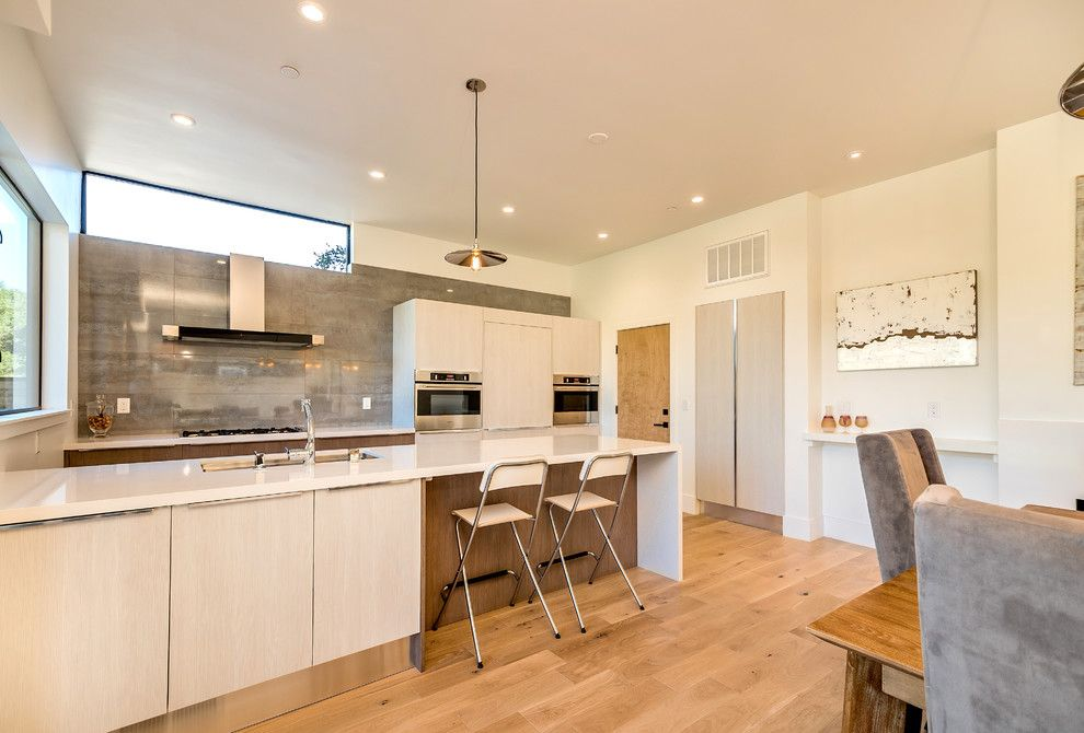 Creamy colored bar stools in the kitchen