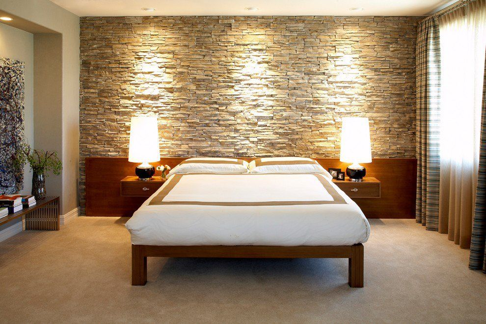Natural stone slabs decorated bedroom with light fixtures