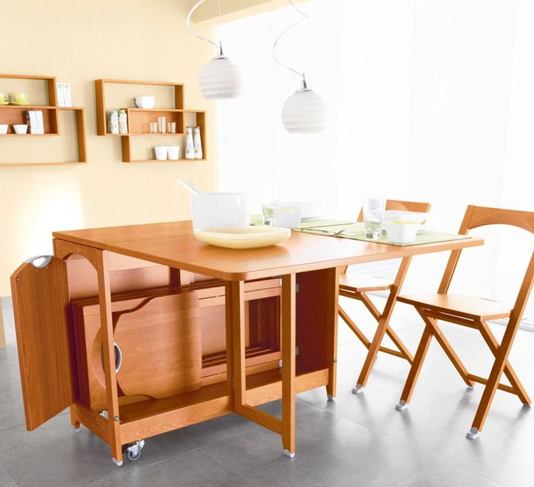 Folding Chairs as a Kitchen Interior Functional Decoration. Table and furniture transforming