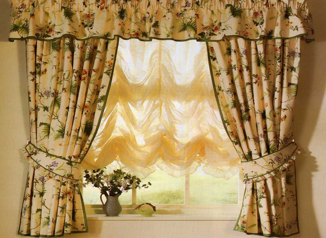 Charming patterned Country style curtains with French tulle