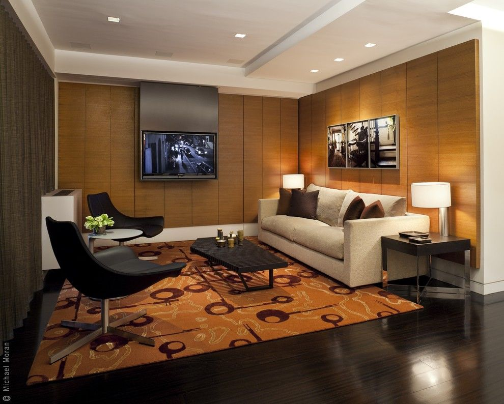 Nice dark toned living room in Modern style with white ceiling