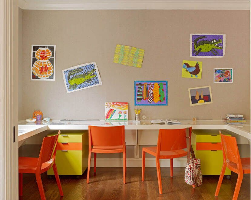 Yellow and orange harmony in the coffee painted kids' room