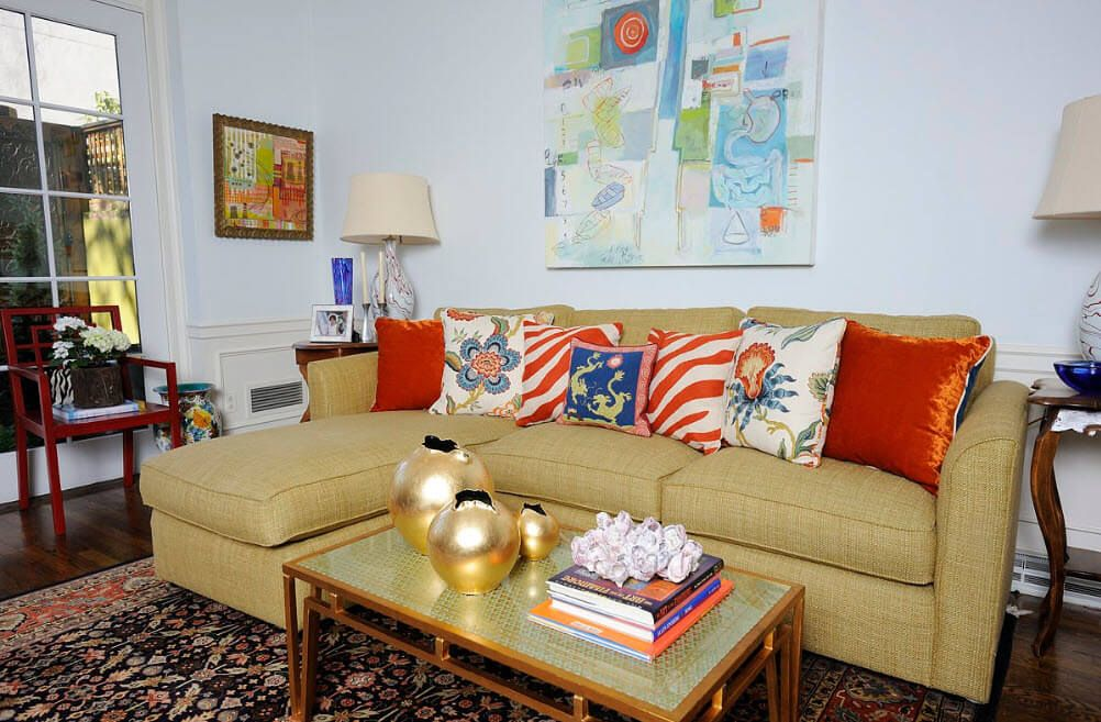 Classic setting of angular sofa and a couch