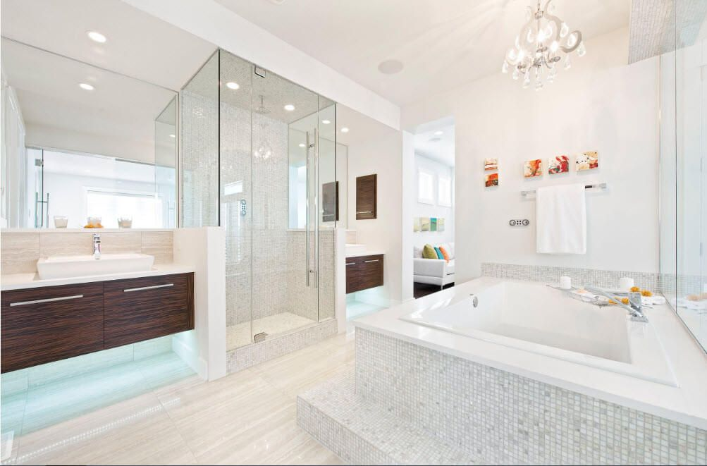 Glass and artificial marble panels for the bathroom in the modern minimalistic style
