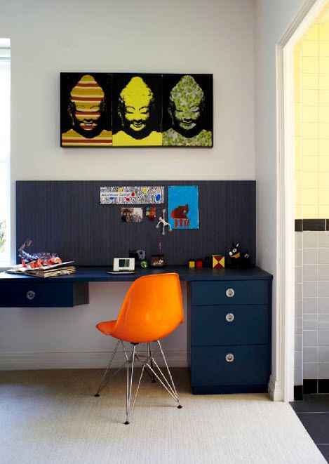 Orange stool in the bright contrasting interior