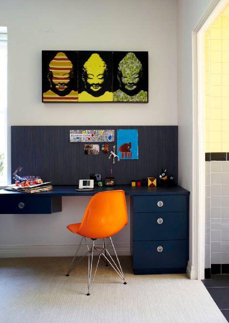 Orange stool in the bright contrasting interior