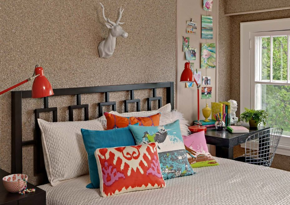 Scandinavian style simulation of the decorative elements in the bedroom