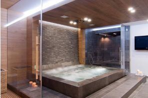Absolutely unique design for the highlighted bath zone with wooden ceiling and perimeter lighting