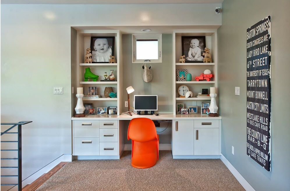 Desk for Studies to the Child's Room. Plenty of Design Ideas in the simply furnished classic interior with expressive orange chair