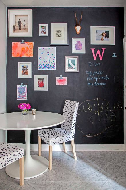 Black wall at the kitchen for family communication