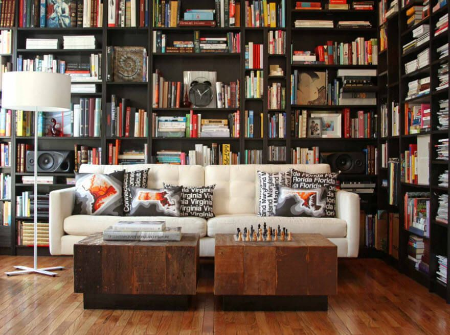 Library and the coffee  tables for comfort reading and for pleasing the eye