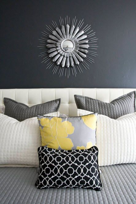 Unusual color of wall paint and the decorative panel above the sofa