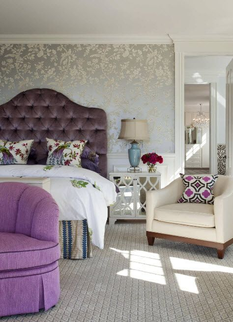 Soft upholstered and riveted headboard