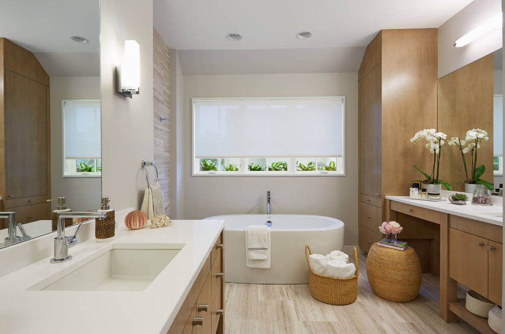 Modern hi-tech style in the bathroom trimmed with natural materials