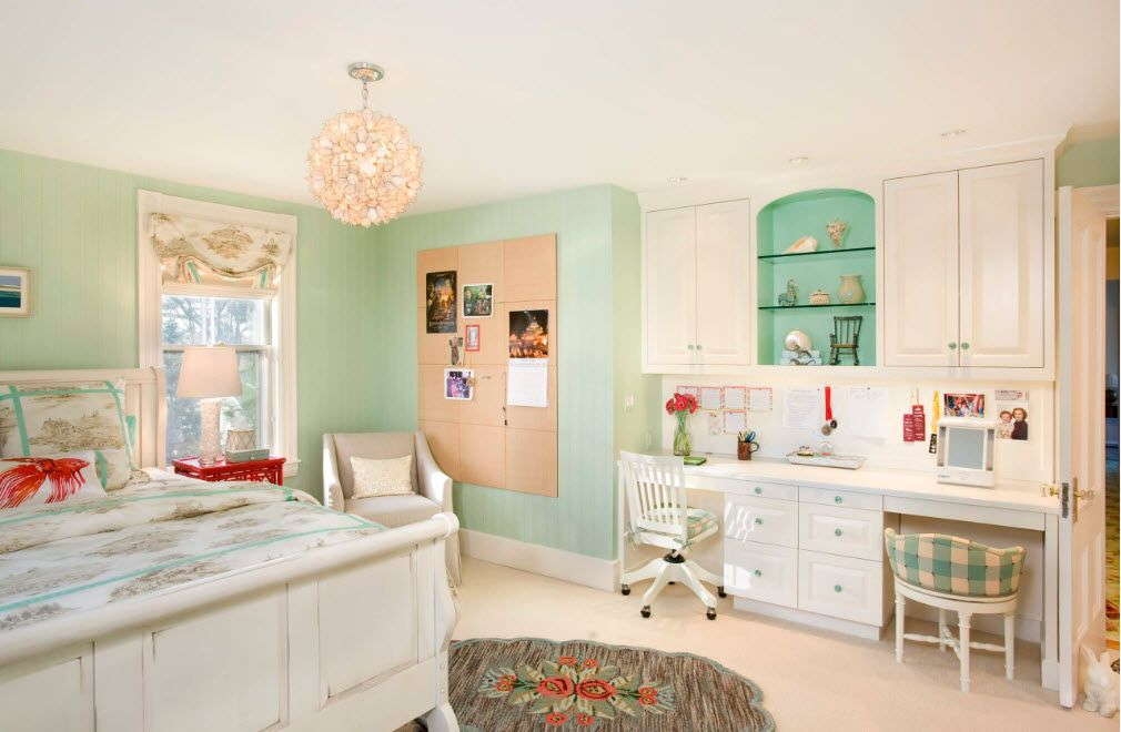 A little girlish tender atmosphere in the children's room with turquoise wall inlays