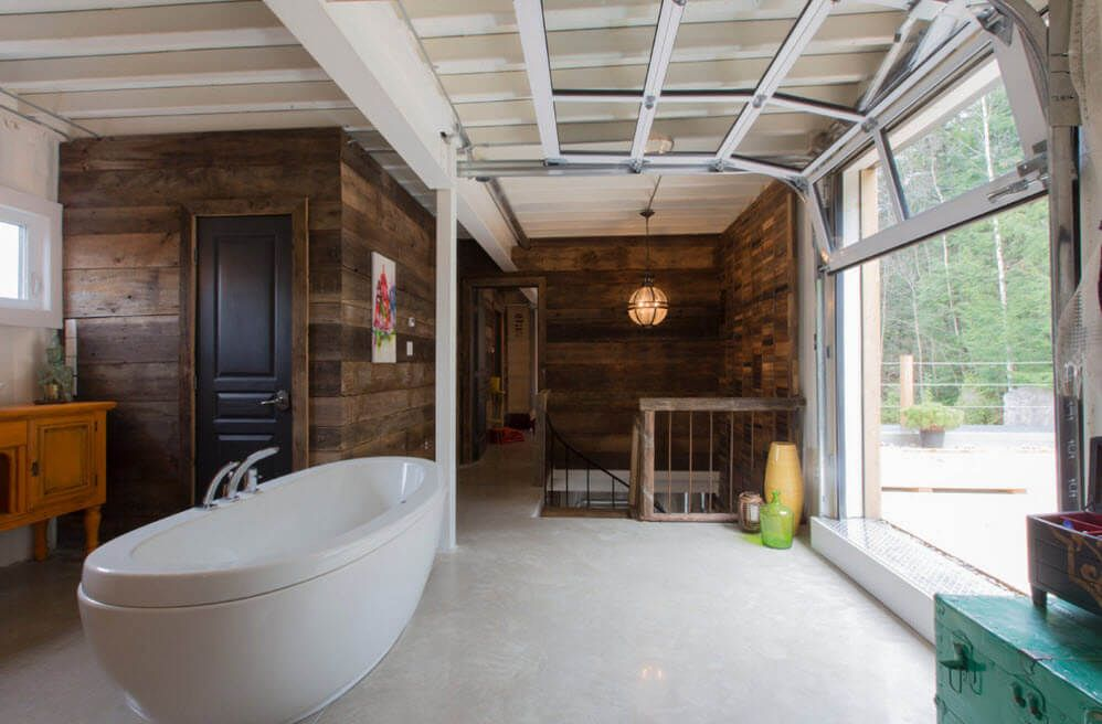 Absolutely fresh design idea for the bathroom located in the shed or garage