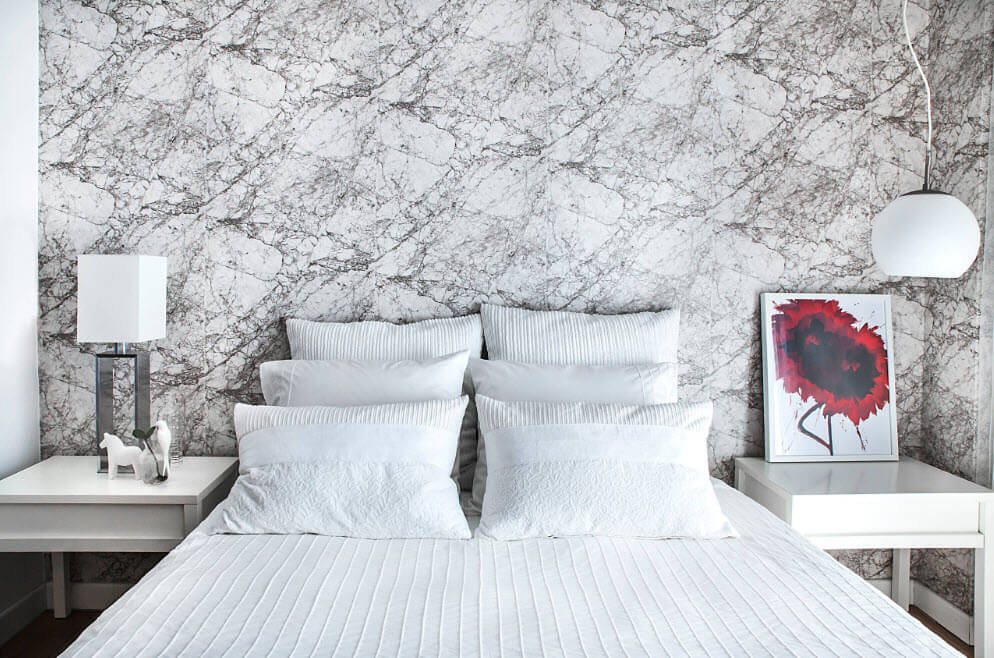 Expressionistic theme of wallpaper picture in the bedroom