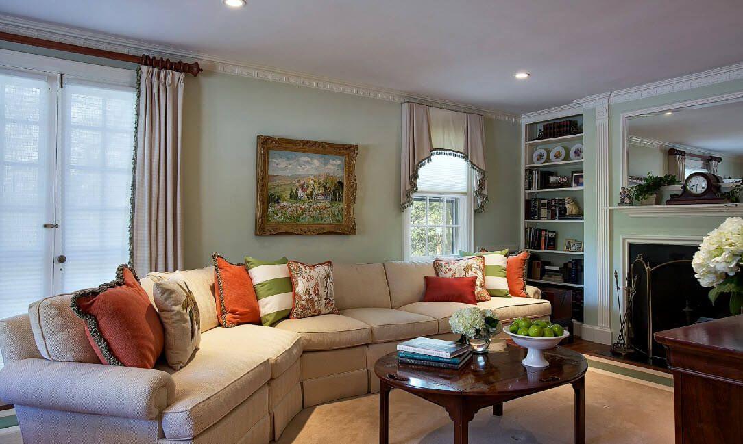 Angled sofa and the nice sandy color