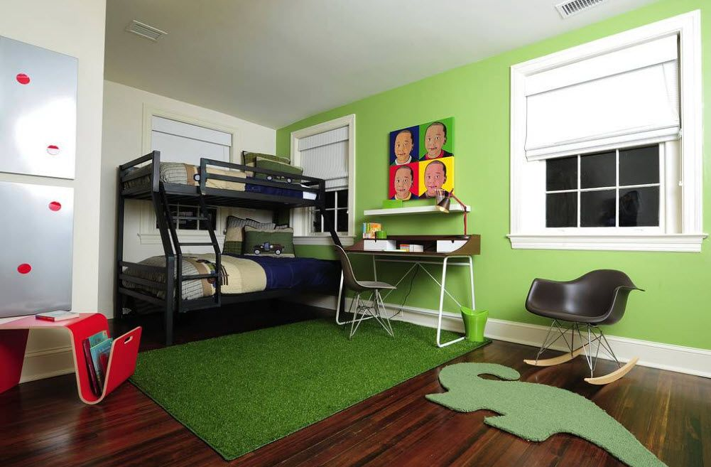 green color theme in the kids' room with bunk bed