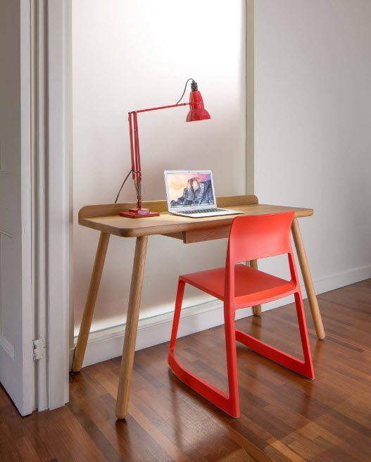 Small desk with joyful orange stool