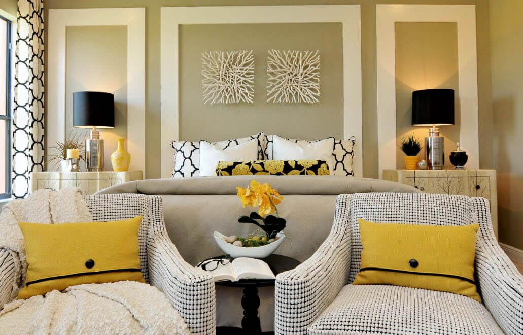 Yellow elements add piquancy to the interior