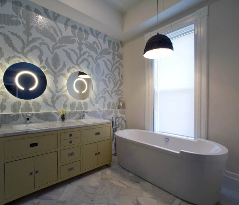 Nice wall decoration with the mirror with baclighting and oval acrylic bathroom