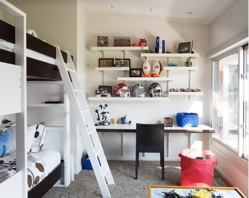 White interior with the bunk bed for energetic little monkey