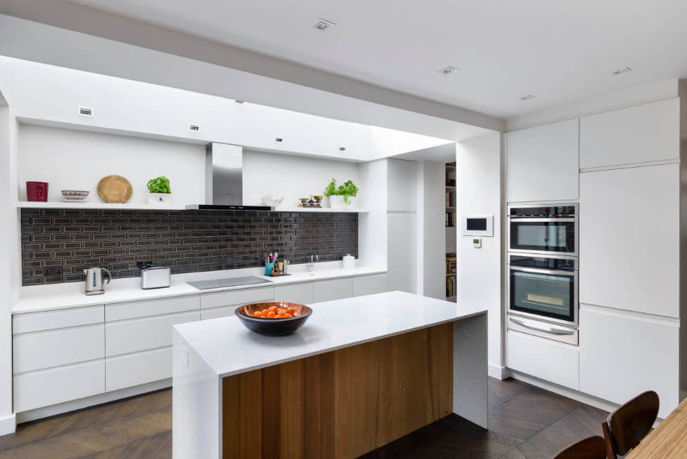 Nice white glance surfaces at the hi-tech kitchen