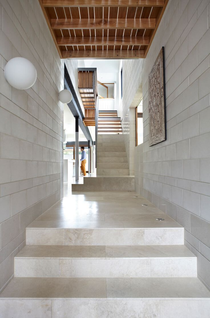 Marble imitating large tile for the modern private house