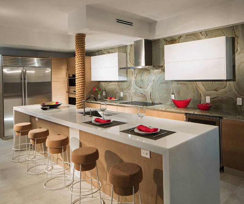 Kitchen Walls Best Finishing Materials with Photos. Luxury kitchen design with upholstered bar stools