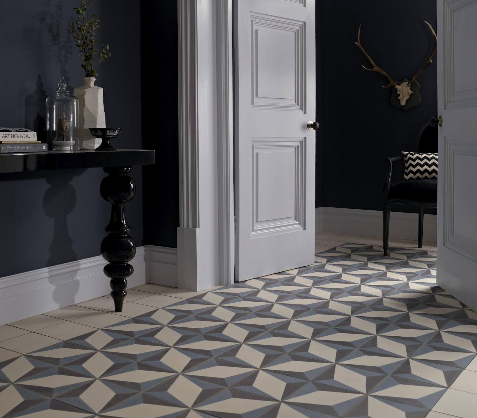 chessboard tile in the classic contrasting interior