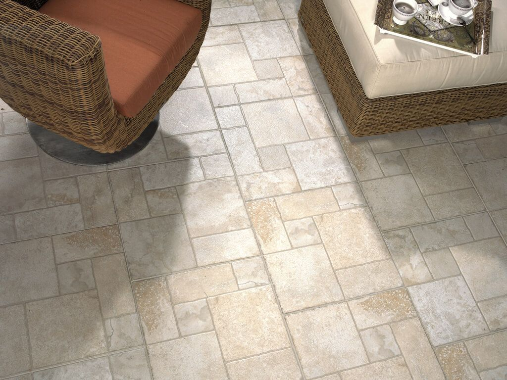 Different scale and form floor tile for the hallway
