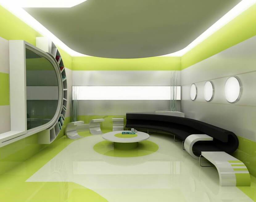 Futuristic scenery in the room with 3d flooring