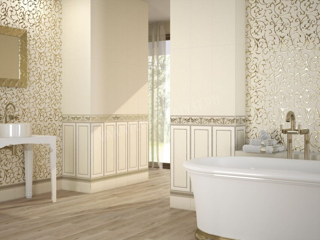 Nice horizontal border complementing composition in the bathroom