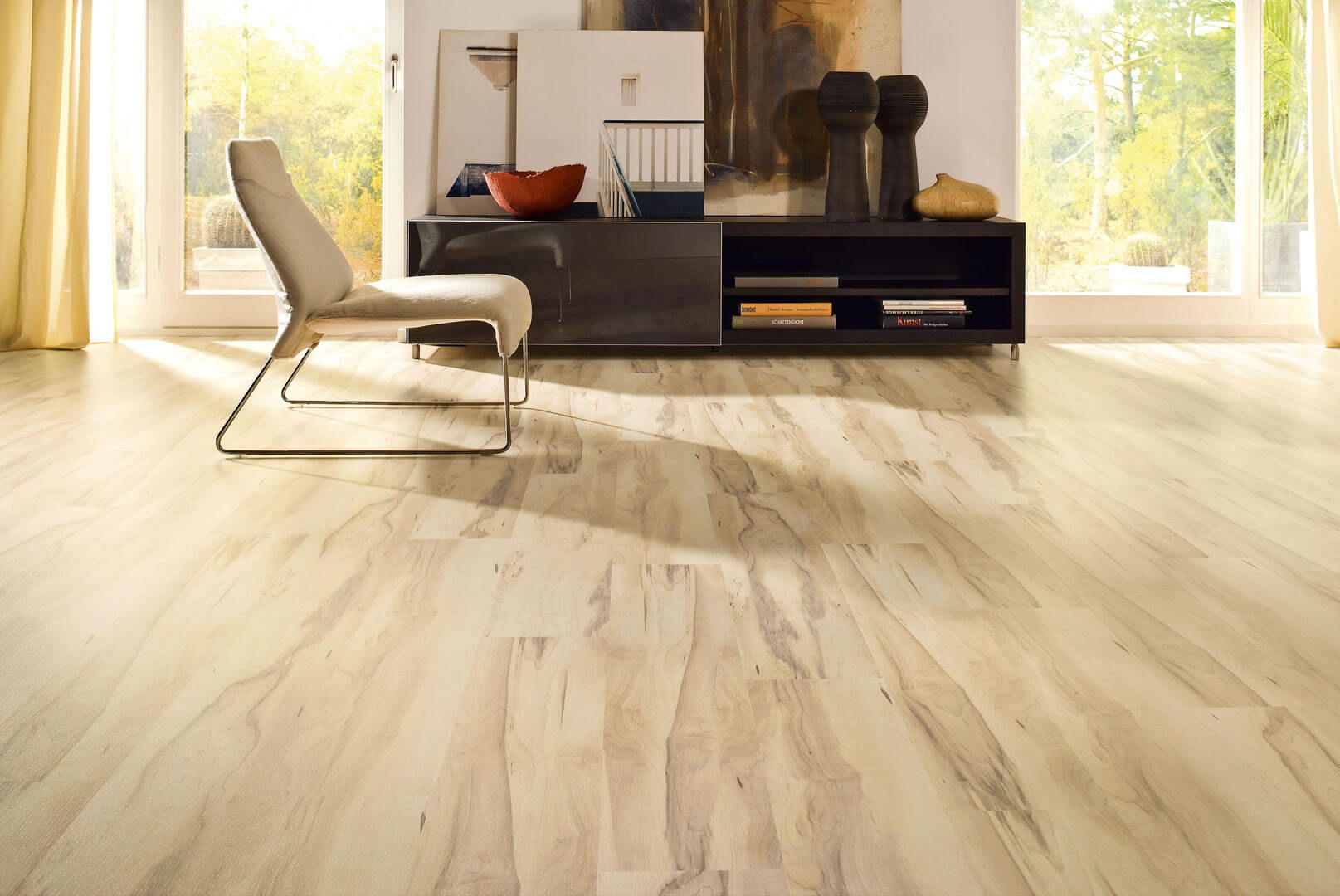 Laminate Floor Finishing Types, Description, Properties. Light colored material used in the modern interior of the living