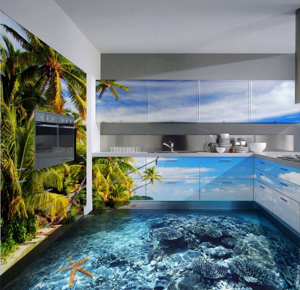 Oceanic atmosphere right in the bathroom thanks to the 3d flooring and photowallpaper at the wall