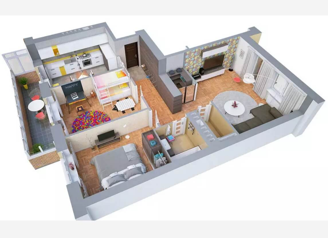Nice 3d Floor Plan From The Top View