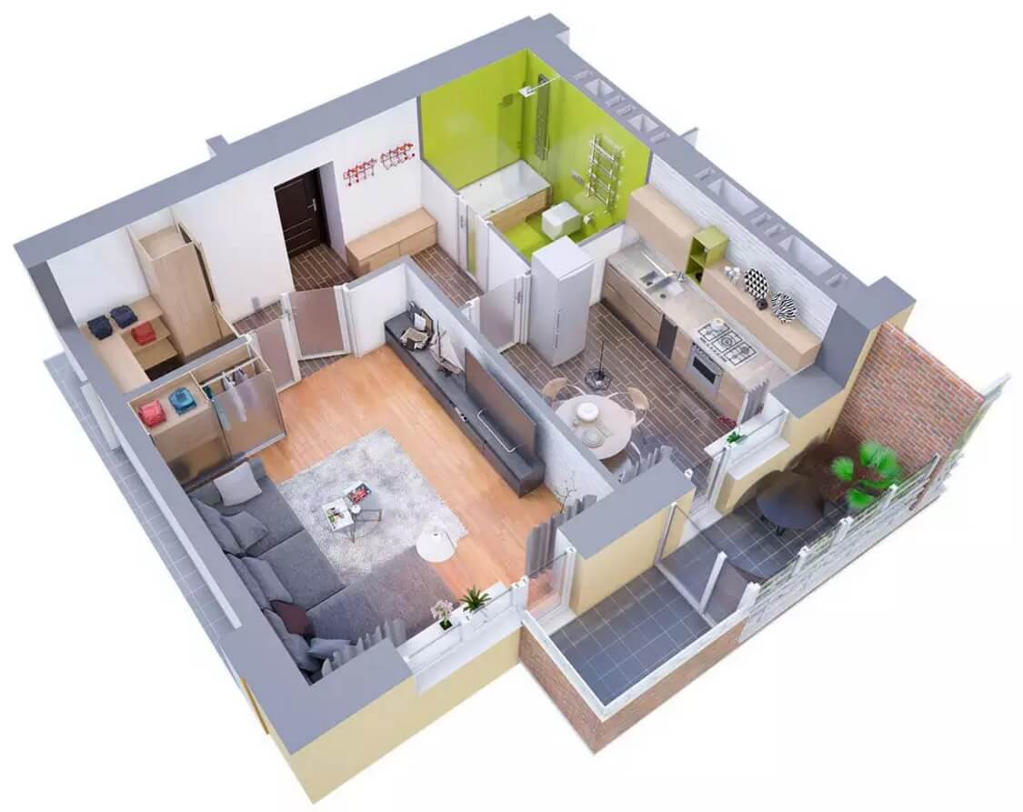 Modern Apartments and Houses 3D Floor Plans Different Models. Small apartment with all functional areas 3d floor plan view