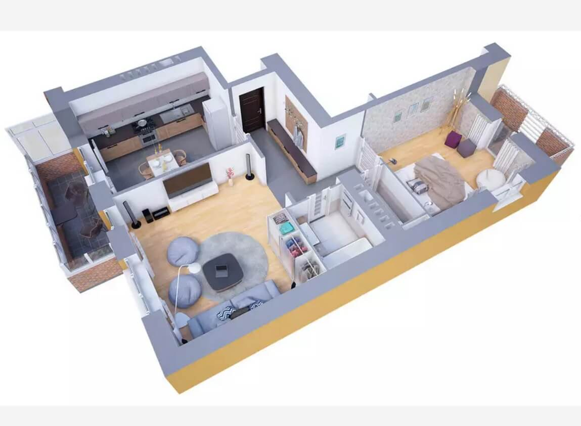 Design of the galley formed apartment from schematic top view with large living room