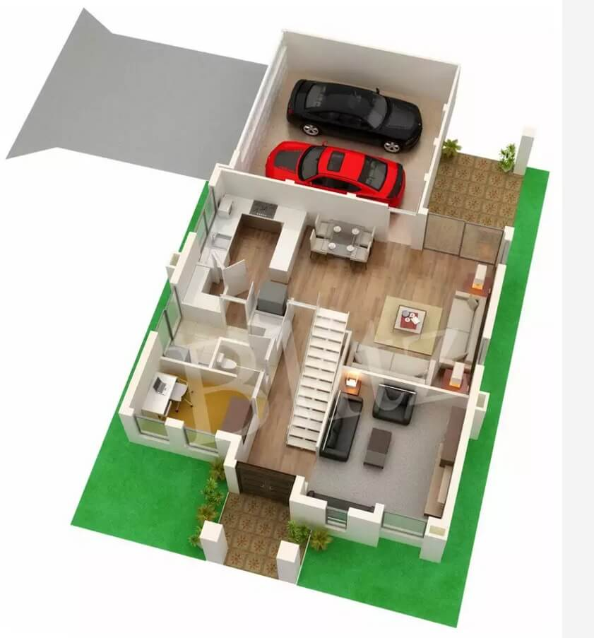 Private house 3d floor plan of the first level with garage