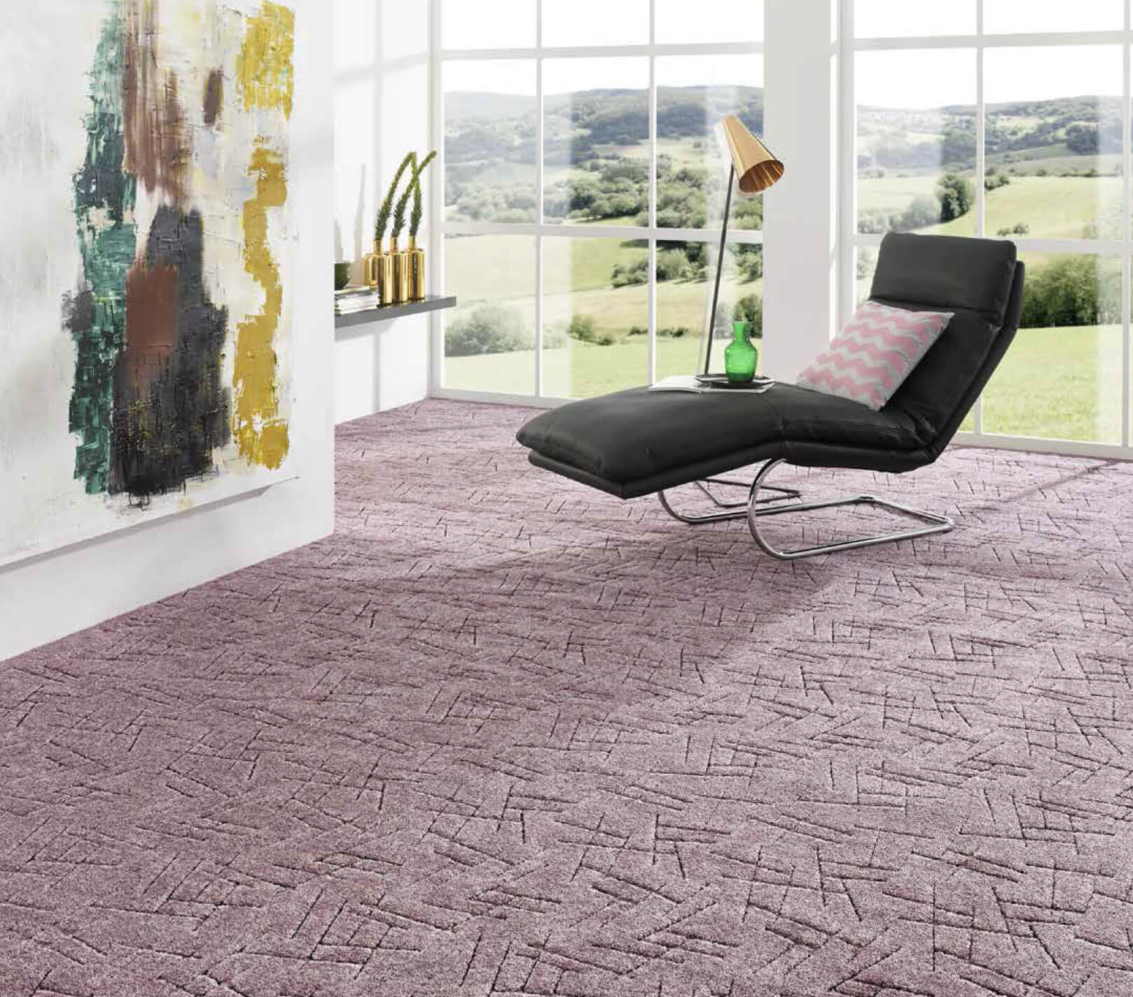 Carpeting Description, Types, Properties and Choosing Advice for the light finished living room in the hi-tech style
