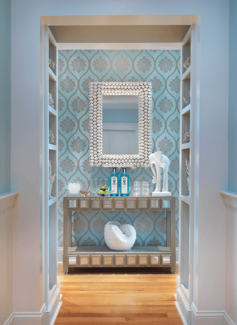 Bathroom design in the azure color theme